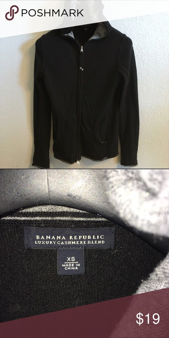 Banana Republic Cashmere Hoodie Wool/Cashmere blend. Full zip. Black with gray trim. Super comfy! Banana Republic Sweaters Cardigans