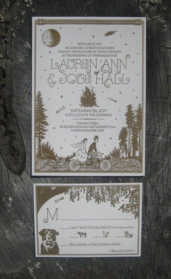 Moonlit Bike Ride Letterpress Wedding Invitation Suite