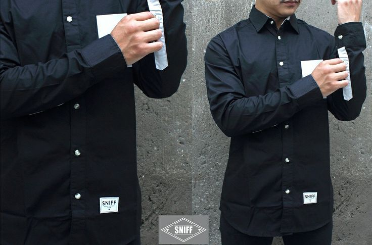 "SNIFF poplin shirt ""BLACK SMOOTH"" Available Size S,M,L,XL 