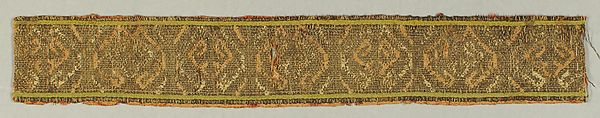 Textile Date: 13th century Culture: German (?) Medium: Silk, metal thread Dimensions: Overall: 1 7/8 × 11 7/8 in. (4.7 × 30.2 cm) Storage (Mat): 4 × 27 in. (10.2 × 68.6 cm) Classification: Textiles-Woven