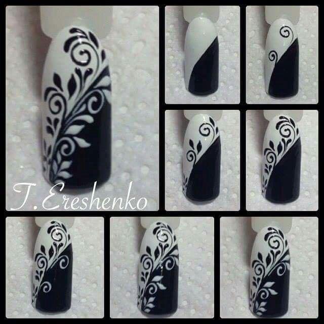 Black & White Free Hand Nail Art Floral Script work tutorial