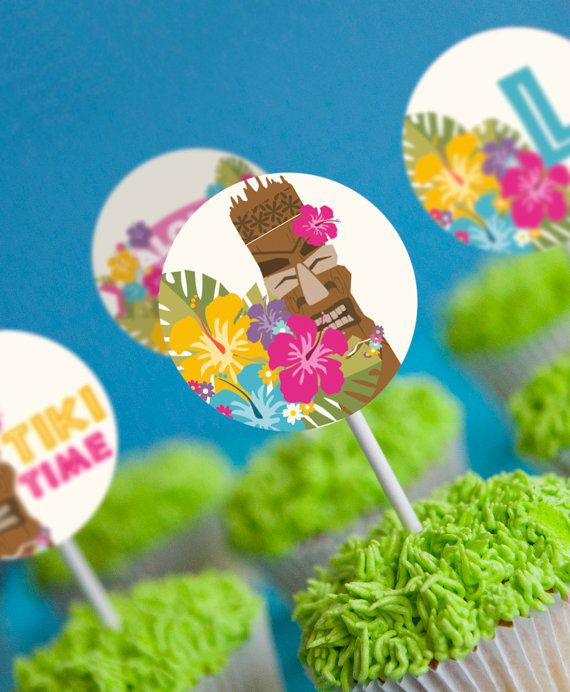 Luau Party Cupcake Toppers  Hawaiian Party by SunshineParties on #Etsy....love these! #LuauCupcakeToppers #HawaiianCupcakeToppers