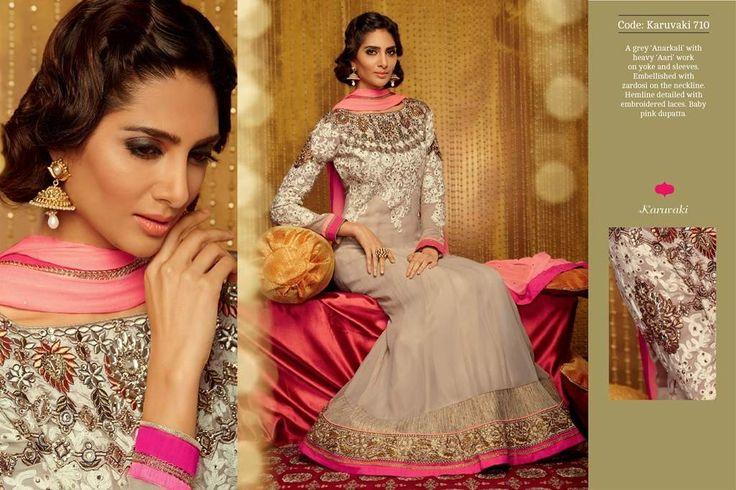 Beige Pink Designer Long Length Salwar Kameez
