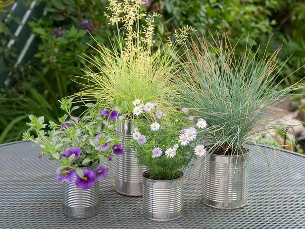 Tin Can Garden Pots. I would not drill holes, just put plants in them in their plastic pots from the greenhouse.  Cute look and take home party favors.  Can paint the pots.