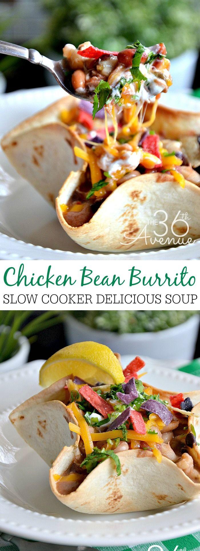 Chicken Bean Burrito Soup the36thavenue.com