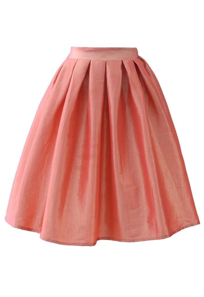 Coral A-line Midi Skirt