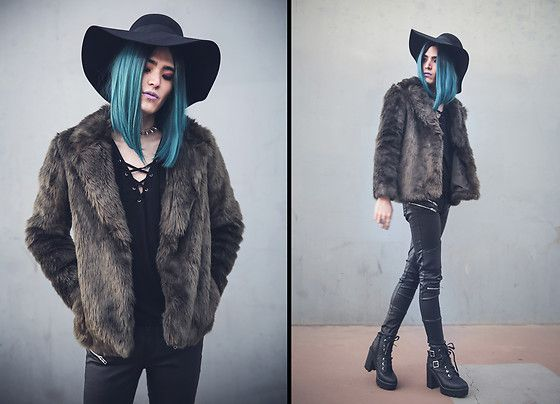 Kyris Kat - Bamboo Buckle Boots, Skinny Fit Zipper Pants, Forever 21 Olive Green Coat, H&M Wide Brim Hat, Midnyte Fantasy Clear Choker, Divided Long Sleeve Lace Up Top - Moody Days