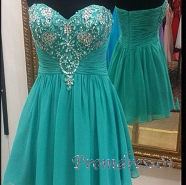 Cute turquoise chiffon sequins short prom dress with top details, homecoming dress 2016 #coniefox