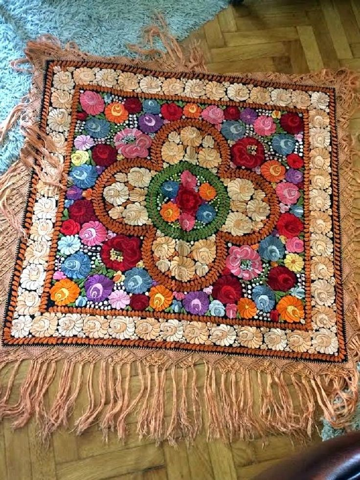 Antique MATYO SILK EMBROIDERED TABLECLOTH RARITY, large Hungarian Art Nouveau