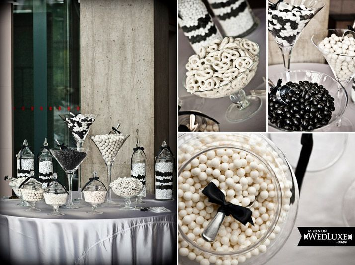as seen in wedluxe magazine black and white candy table
