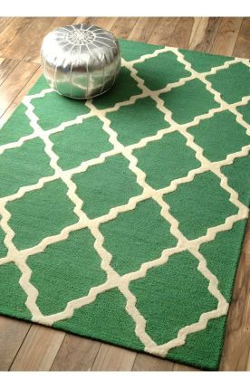 Homespun Moroccan Trellis Emerald Rug   Contemporary Rugs