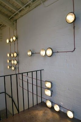 industrial lighting design. cool alternative to can lights and creates cheap funky lighting also gives the room an industrial design a