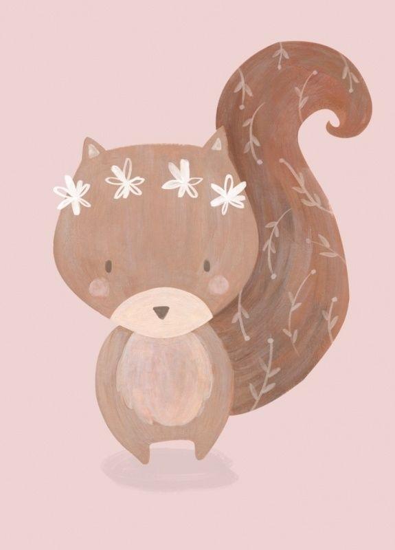 Ansichtkaart Eekhoorn Ansichtkaart met lief eekhoorntje. Gedrukt met milieubewuste inkt. Illustratie van Bianca Pozzi.