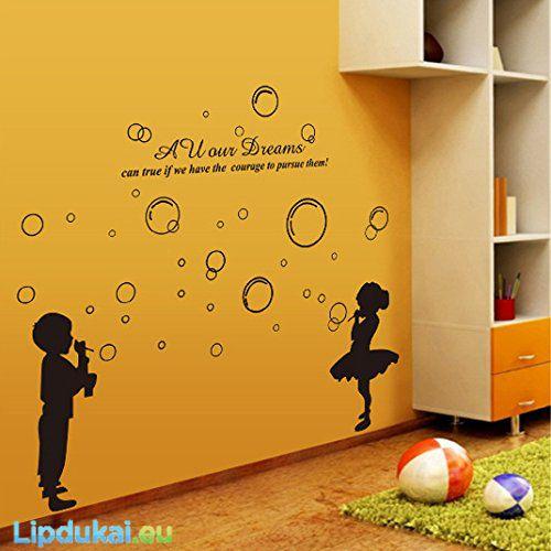 Vaikai pučia burbulus Interjero lipdukai/ CHILDREN BLOWING BUBBLES wall sticker #VaikaiPuciaBurbulus #SienosLipdukas #IdejosVaikuKambariui