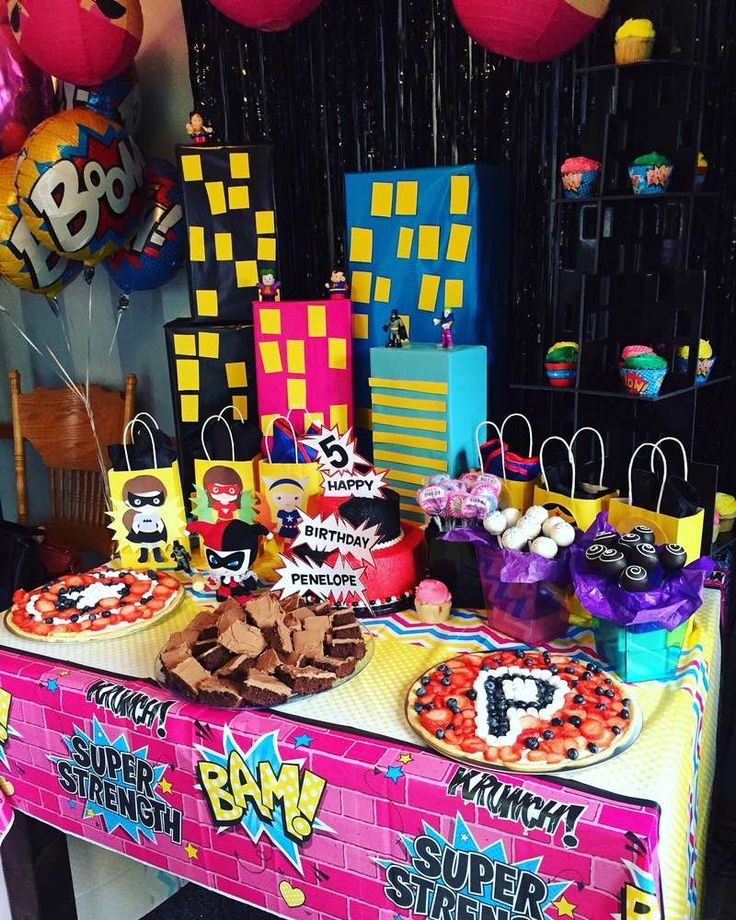 Girly superhero birthday party! See more party planning ideas at CatchMyParty.com!