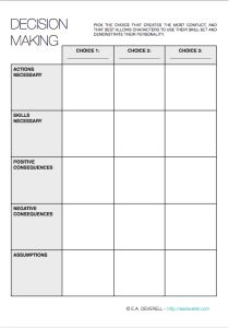 Creative Writing Worksheet – Decision Making (PDF) Your characters' decisions will determine the course of your story. Will they make the right choice or the wrong one? And who can tell the difference? Use this worksheet to test which decisions will weave a better tale. You can find a ZIP of all of the writing worksheets…