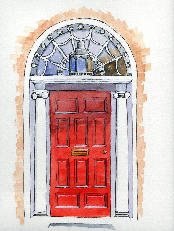 Red Georgian Door Dublin, Ireland - Original Watercolor and Mixed Media Painting…