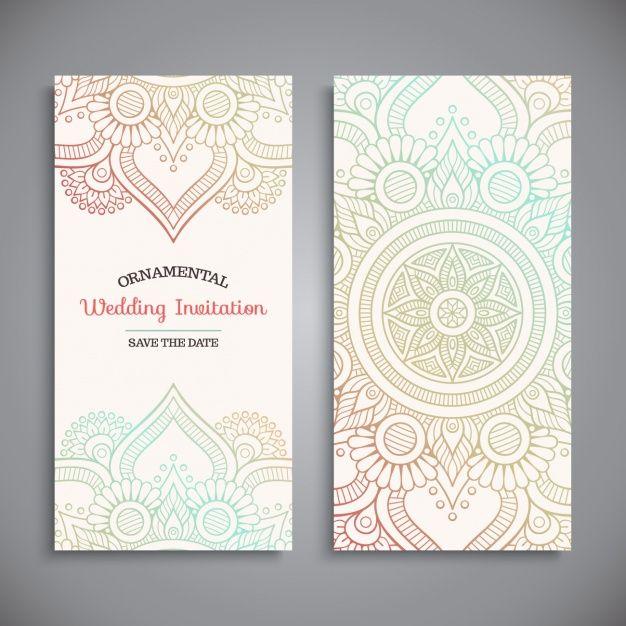 Diseño de invitación de boda Vector Gratis
