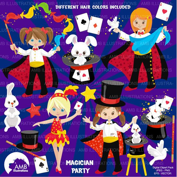 80%OFF Magician clipart Magician girl clipart by AMBillustrations