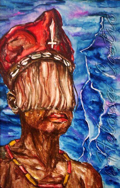 Oyá, Dona dos ventos - pintura á óleo,  by Heloisa Castro