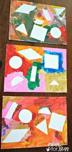 Paint resist with contact paper...great art activity and fun to do along with learning shapes. From Mess For Less.