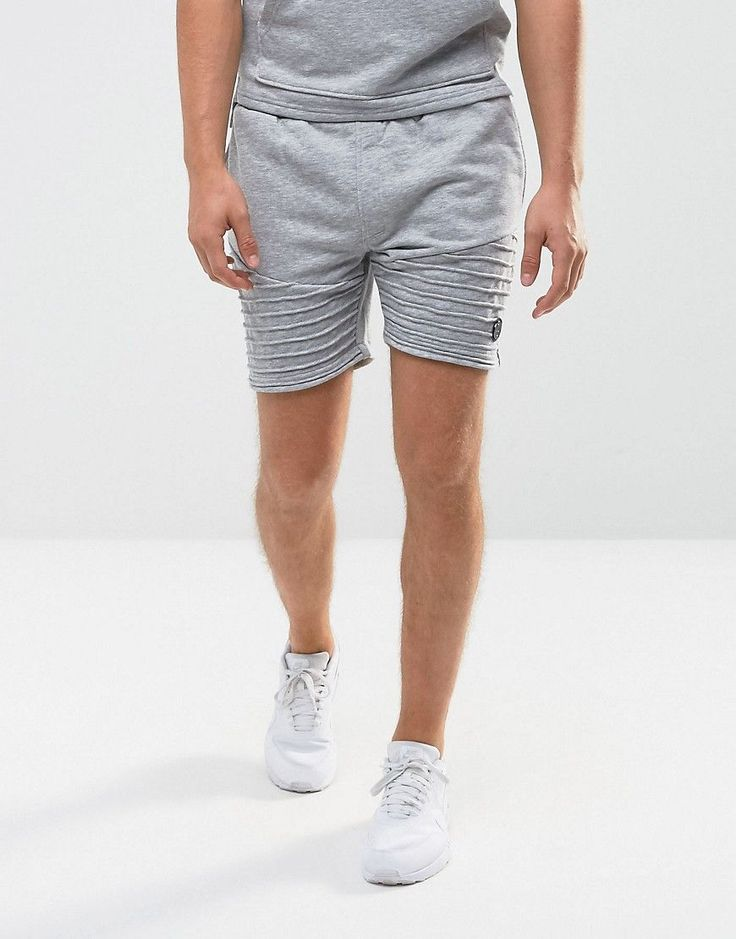 Intense Skinny Shorts In Gray With Biker Detail - Gray