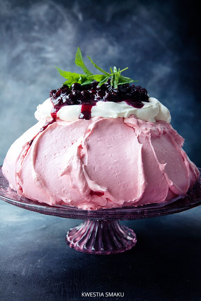 Blackcurrant pavlova - pink dye in meringue, topped in sweetened cream and blackcurrants.   BC - 200 grams of blackcurrants, Juice of 1 lemon, 4 tablespoons of sugar, 1/2 tsp corn-starch  - Wash and de-stalk currants, put into pan, add l.juice, boil for one min, add sugar mix til sugar is dissolved.  Heat briefly, add corn starch mixed with few tablespoons of cold water. Bring to a boil and set aside. Fruits should be in syrup.  If necessary, add a little more flour or water.