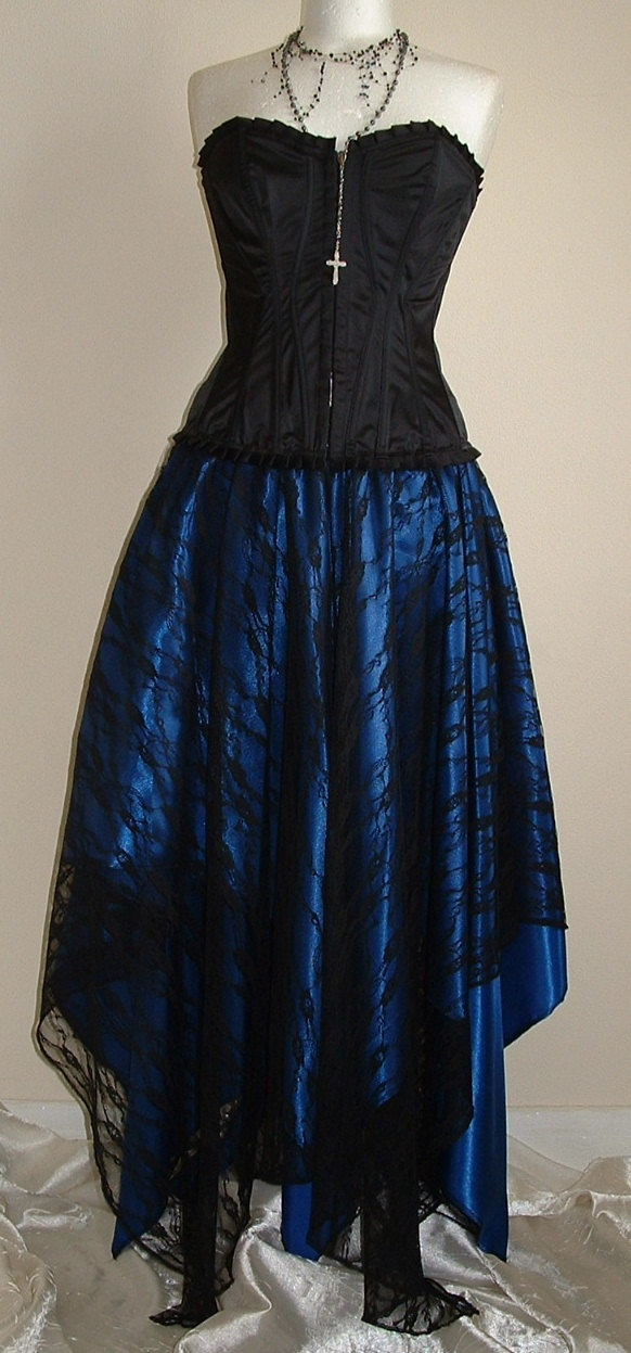 skirt blue black gothic gypsy emo  electric blue satin darkest black lace pointy pixie skirt size 8-14. $64.00, via Etsy.