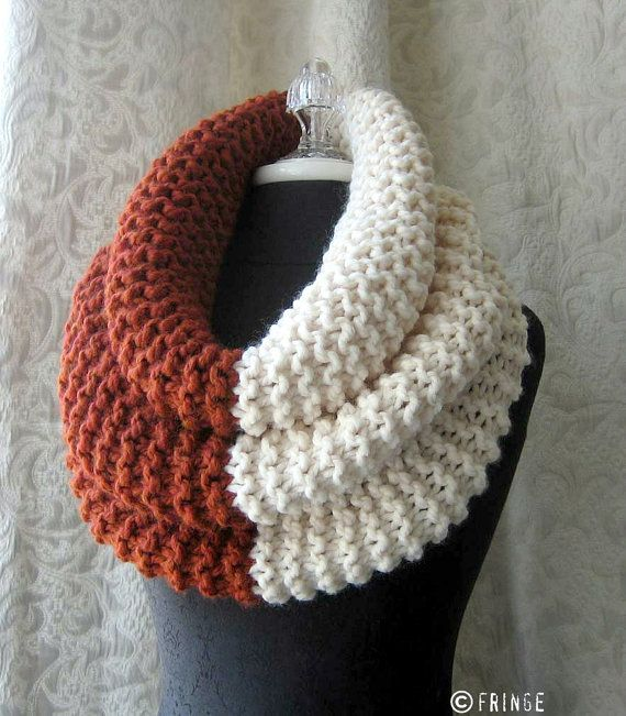 Chunky Knit Cowl - Oversized - Rust and Cream