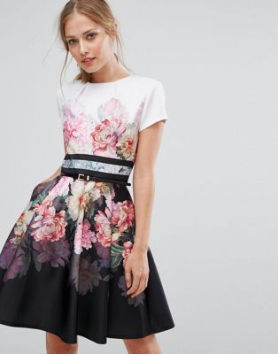 Ted Baker Painted Posie Border Skater Dress