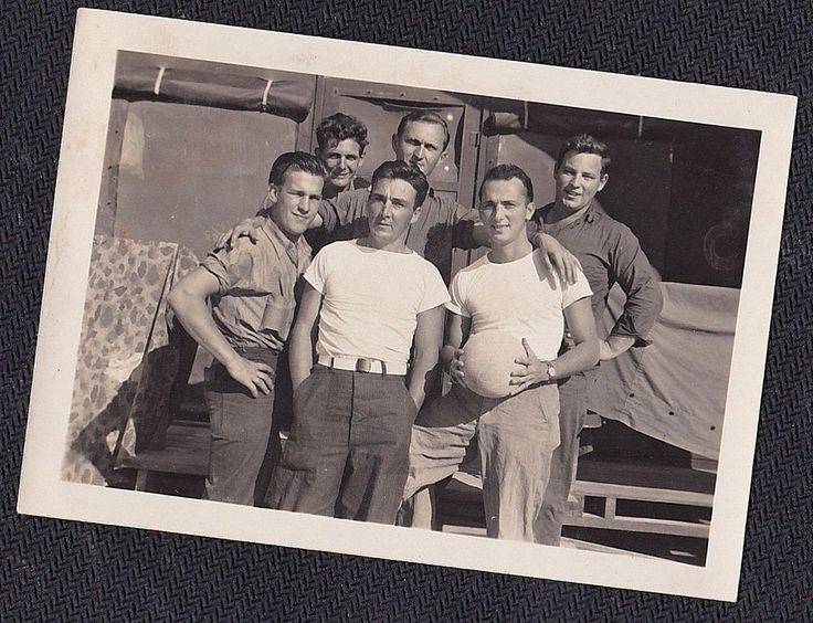 Old Vintage Antique Photograph Group of Sexy Military Men Holding A Ball