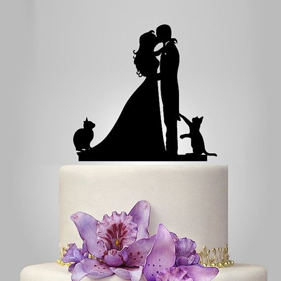 Wedding Cake Topper birde and groom silhouette with two cats, pets Cake Topper, couple, funny topper, kissing couple topper
