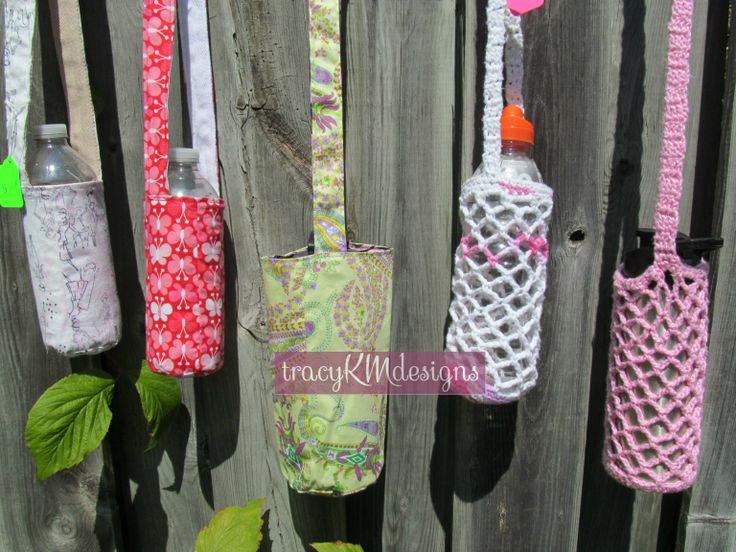 A selection of reversible sewn holders, and crocheted holders.