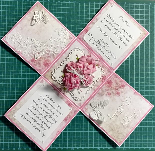 003c_Explosion Box with Roses and Butterflies_Inside View. Handmade by Diane Prinsloo (Lubbe).