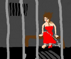 Losing a shoe got a woman in red into chains