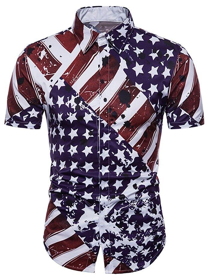 Hidden Button American Flag Print Shirt Multi 3b75838512 Size Xs Short Sleeve Dress Shirt Men Mens Outfits Mens Shirts