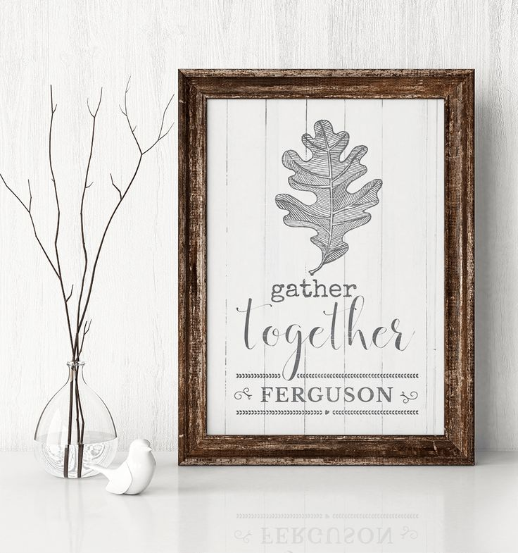 Gather Together personalized print with a vintage sketch of a oak leaf…