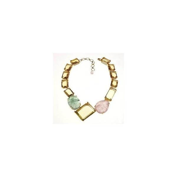 Bounkit Lemon Quartz, Fluorite, And Carved Rose Quartz Necklace ($1,485) found on Polyvore