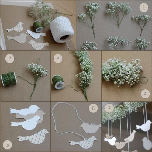 Guirlande de fleurs et d'oiseaux en papier