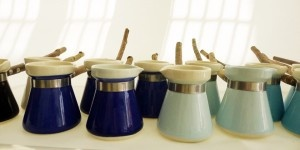 Turkish porcelain coffee pots with twig handles