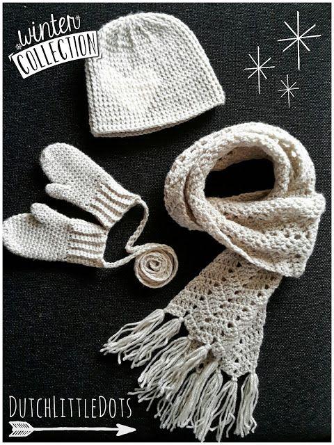 DutchLittleDots - Irene Haakt gehaakt gehaakte winter set; muts, sjaal en wanten wantjes peuter haakpatroon haak patroon haken scarf, hat, mittens toddler crochet crocheted pattern
