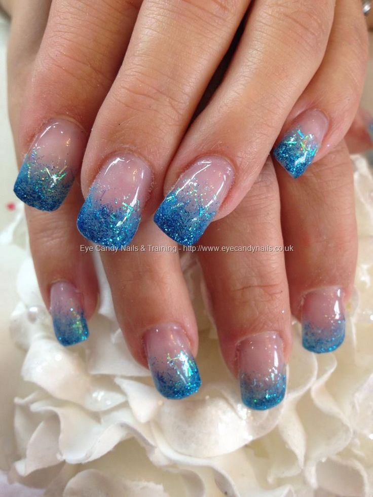 Blue Glitter Fade Over Acrylic Nails Sparkle Nails Blue Acrylic Nails Acrylic Nail Designs