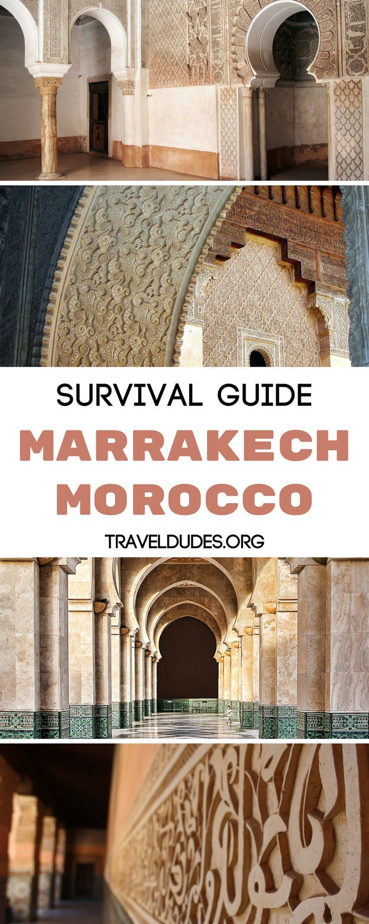Travel to Paradise in Marrakech, Morocco, but not without these survival tips. Take in the amazing architecture, explore the many markets throughout the city, and grub on the best street food. Make the most of these experiences by learning how to haggle or get around the city. | Travel Dudes Travel Community #Marrakech #Morocco