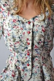 vintage bloemen blouse met pofmouw