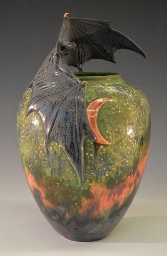 Freiwald Art Pottery: Bat and Moon Vase