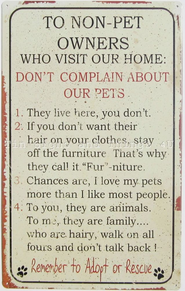 Pet Rules TIN SIGN animal lover gift dog cat hair fur funny metal wall decor OHW