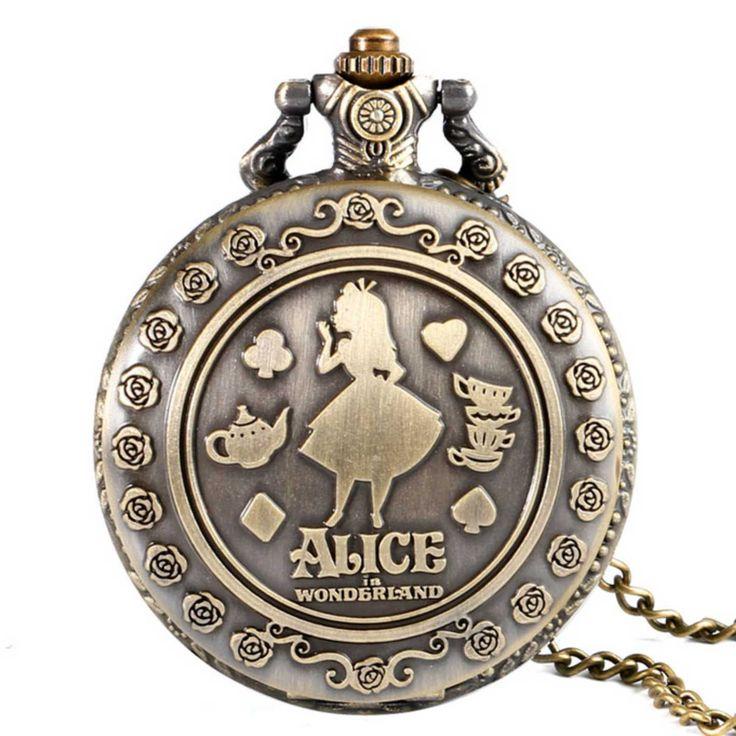 Collar largo reloj Alicia en el país de las maravillas y Cheshire