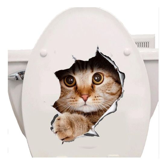 Cats D Wall Sticker Toilet Stickers Hole View Vivid Dogs Bathroom Home