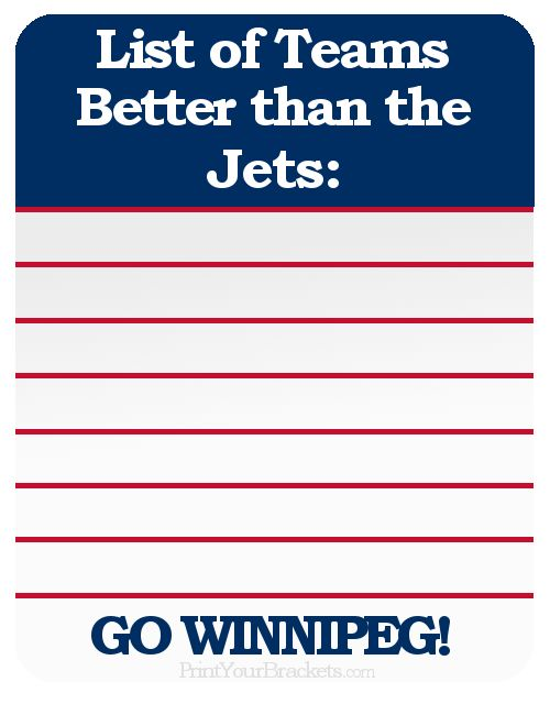 List of Teams Better than the Winnipeg Jets ..Zero....Zip....Zilch....Nada....None.. Find your favorite team here http://printyourbrackets.com/funny-sports-images.html