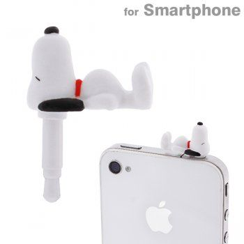 Peanuts Snoopy Charapin Earphone Jack Accessory (Snoopy/Lying on his back)